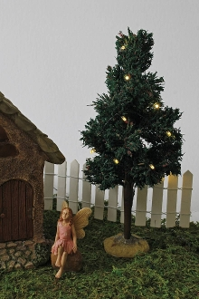 "9"" Tall Lighted Spruce Tree For Miniature Fairy Gardens"