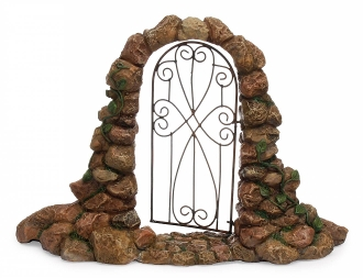 Cobblestone Arch with Iron Gate For Miniature Fairy Gardens
