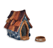 Shingleton Fairy Dog House and Dog Bowl