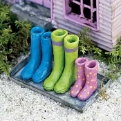 Colorful Rain Wellies on Tray for Miniature Fairy Gardens