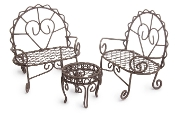 Set/3 Patio Bistro Set for Miniature Fairy Gardens