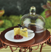 Cheese Plate with Glass Dome for Miniature Fairy Gardens