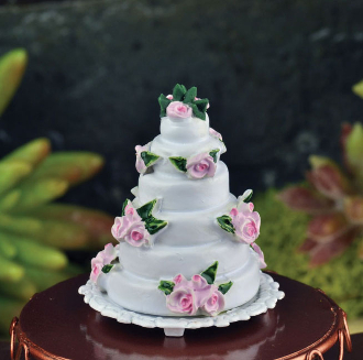 Wedding Cake on Plate For Miniature Fairy Gardens