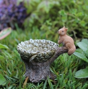 Squirrel and Leaf Fairy Birdbath For Miniature Gardens