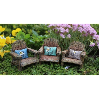 Set of 3 Fairy Chairs with Flower Pillows for Miniature Gardens