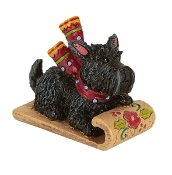 Scottie on Sled for Merriment Mini Fairy Gardening