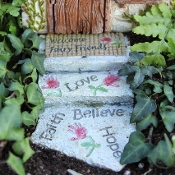 Welcome Fairy Walkway Steps for Miniature Fairy Gardening
