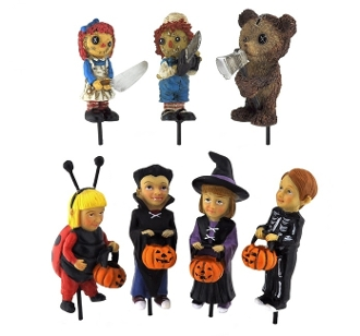 Set of 7 Halloween Spooky Characters For Miniature Fairy Gardens