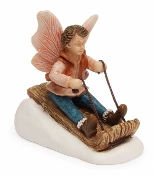 Jed the Toboggan Boy Fairy For Miniature Fairy Gardens