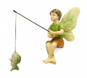 Sitting Fishing Boy Fairy for Miniature Fairy Gardens