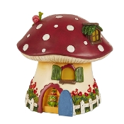 Frog Mushroom Solar Cottage for Merriment Mini Fairy Gardening