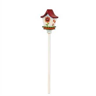 Red Roof Birdhouse with Bird for Merriment Mini Fairy Gardening