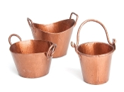 Set/3 Copper Bucket Set for Miniature Fairy Gardening