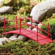 Red Metal Fairy Bridge For Miniature Fairy Gardens
