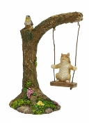 Squirrel on Tire Swing For Miniature Fairy Gardens