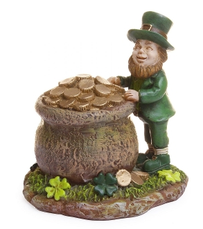 Leprechaun With Pot-O-Gold For Miniature Fairy Gardens