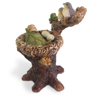 Birds Babysitting Swaddling Fairy For Miniature Fairy Gardens