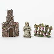 Vineyard Sanctuary Monk Set for Miniature Fairy Gardens