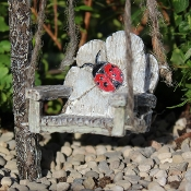 Ladybug Swing Chair on Rope For Miniature Fairy Gardens