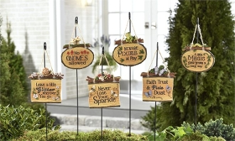 "Set/6 Whimsical Statement 14"" Fairy Garden Signs - EXCLUSIVE"