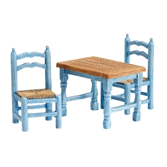 Blue Farm Table and Chairs for Merriment Mini Fairy Gardening