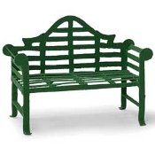 Green Metal Lutyens Bench for Miniature Fairy Gardens