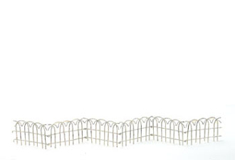 "24"" Metal Whitewashed Arch Fence for Miniature Fairy Gardens"