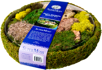 "15"" Round Moss Container with Assorted Moss For Fairy Gardening"