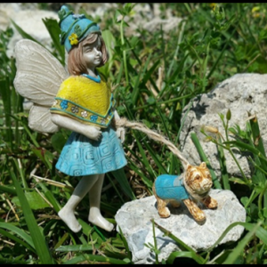 Chelsea and Dog Max On Leash Fairy For Miniature Fairy Gardens