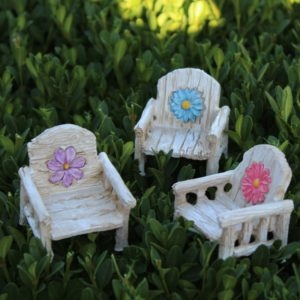 Set of 3 Rainbow Daisy Chairs For Miniature Fairy Gardens