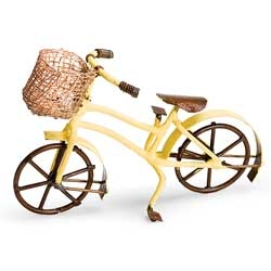 Yellow Fairy Bike With Basket for Miniature Gardens