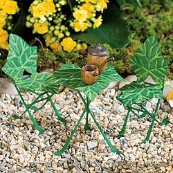 Ivy Leaf Bistro Green Finish Set For Miniature Fairy Gardens