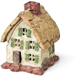 Stone Thatched Cottage For Miniature Fairy Gardens