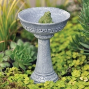 Birdbath with Frog for Fairy Garden