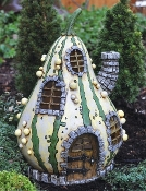 "Striped Gourd Fairy Home - 8"" Tall"