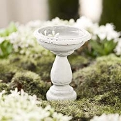 Aged Marble Look Birdbath For Miniature Fairy Gardens