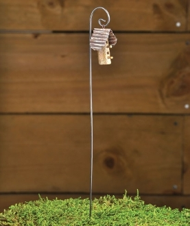 Woodland Birdhouse On Hook For Miniature Fairy Gardens