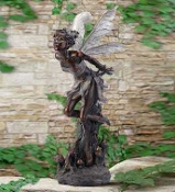"34"" Tall Kissing Fairy Sculpture for Fairy Garden Accent"