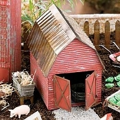 Tin Red Rustic Barn For Miniature Fairy Gardens