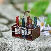 Wire Basket with Wine Bottles Fairy Garden Accessory