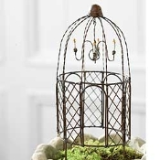 Narrow Round Wrought Gazebo for Miniature Fairy Gardens