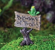 BEWARE OF TROLLS with Frog Sign for Fairy Garden