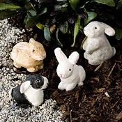 Set of 4 Bunnies for Miniature Fairy Gardens