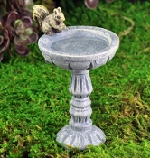 Birdbath with Squirrel For Fairy Garden