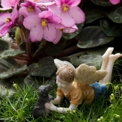 Ross With Dog Winston Fairy For Miniature Fairy Gardens