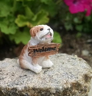 Marley the Puppy with WELCOME Sign For Miniature Fairy Gardens