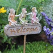 WELCOME Sign with Fairies for Miniature Fairy Gardens