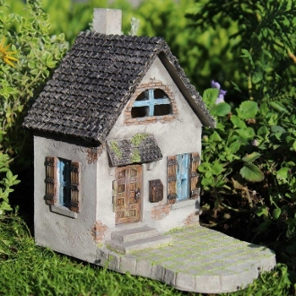 "6"" Hollybrook House for Fairy Gardens with Swinging Door"