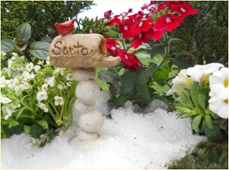 Santa Mailbox With Cardinal For Miniature Fairy Gardens