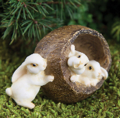 Bunnies in Shell For Miniature Fairy Gardens